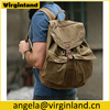 Wholesale Multi-purpose Casual Men's Army Green Hiking Camping Canvas Backpack For Outdoor Travel