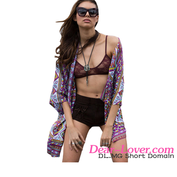High Fashion Ladies Tribal Geometric Print Kimono Beach Wear Cover Up