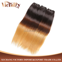 Wholesale 3 Tone Ombre color 100% Cheap Remy Indian Human Hair Weft Extension