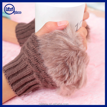 Yhao factory imitation rabbit fur half fingers winter warm knitting gloves wholesale fuzzy fur cuff fingerless gloves for women