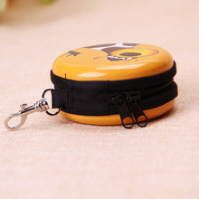 Custom printing small tin box coin purse with zipper keychain