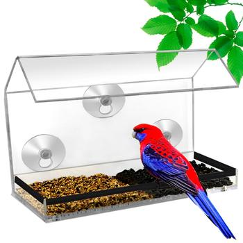 Custom Acrylic Transparent Window Bird Feeder With Suction Up