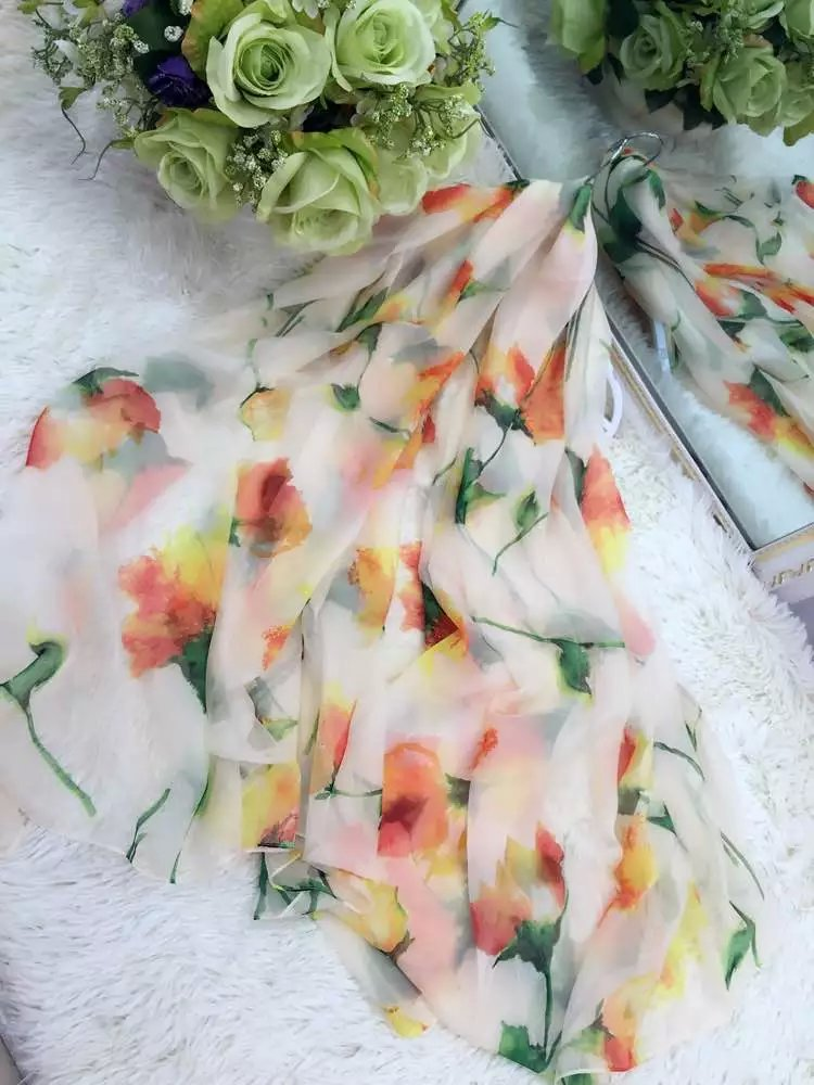 New Women's Fashion Spring Long Soft Floral Printing Silk Chiffon Wraps