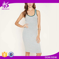 2016 Guangzhou Shandao OEM/ODM Custom Summer Women Sleeveless Knee Length Striped Bodycon Round Neck Patterns For Dresses