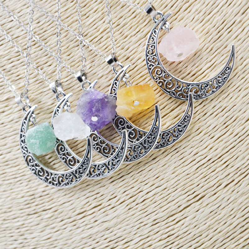 Delicate Jewelry Hollow Out Alloy Moon time jewelry Necklace For Woman