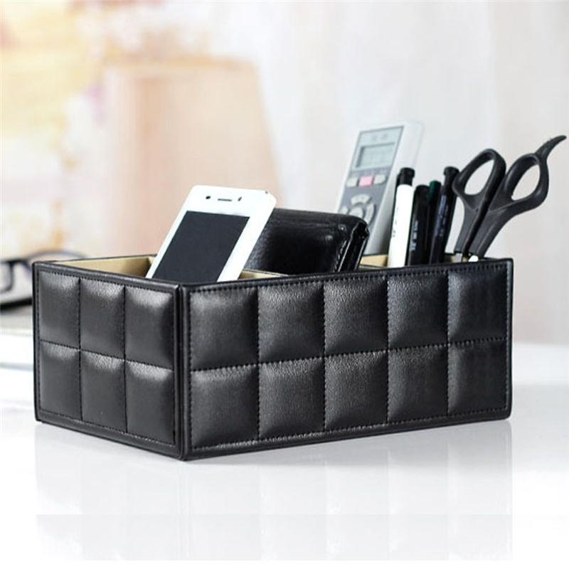 4 Slot PU Leather Desk Remote Controller Holder Organizer; Home Sundries Storage Box