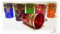 Set Of Six Venetian - Moroccan Tea Glasses & Wine Tumblers - 6 oz .
