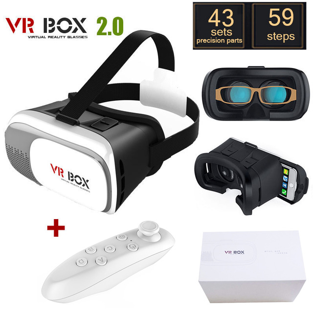2nd Generation virtual reality 3d vr box 2.0 version Glasses helmet+ Bluetooth Controller