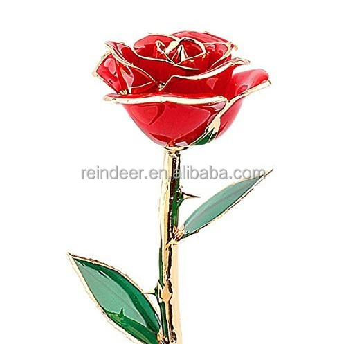 24K Gold Real Red Rose Flower,Love Gift for Valentines Birthday Christmas Decoration Flower