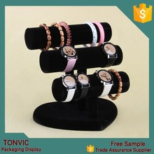 Different colors 3 tiers Velvet T bars bracelet watch jewellery display stand holder