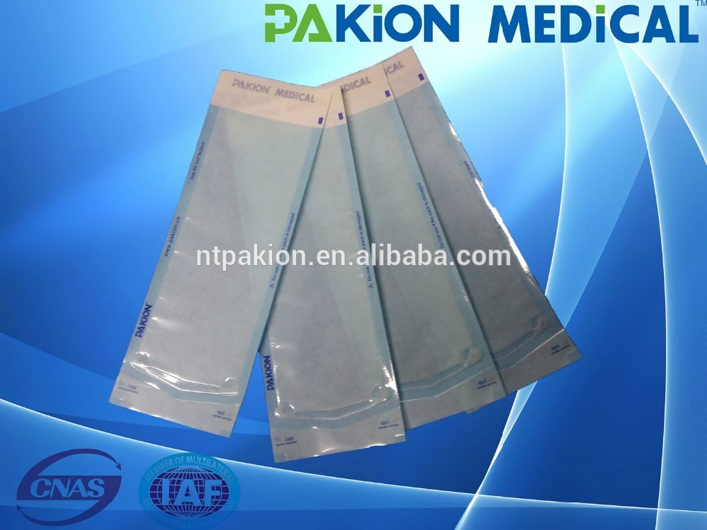 Printed surface sterilization self sealing pouches