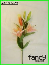 3 heads pink single stem zebra tropical lily flower