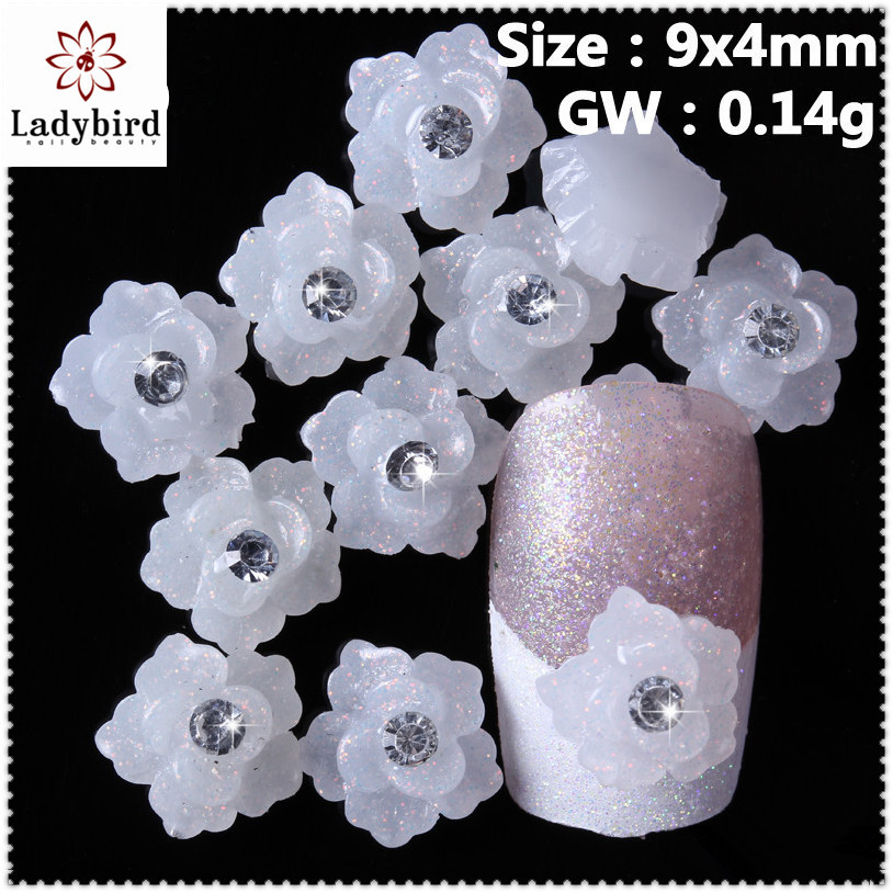 3d candy color acrylic Flowers shiny rhinestone 3d nail decoration