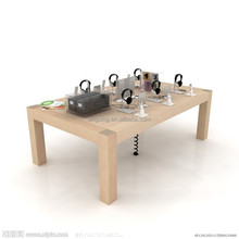 Apple store wood display table with 4 legs