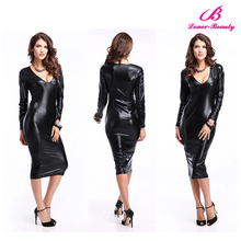 Full body sexy leather catsuit for women