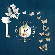 Acrylic self adhesive sticker angel and butterflies shape wall clock (B0420)