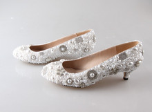 BS876 custom handmade low heel 5cm pearls wedding shoes/bridal shoes