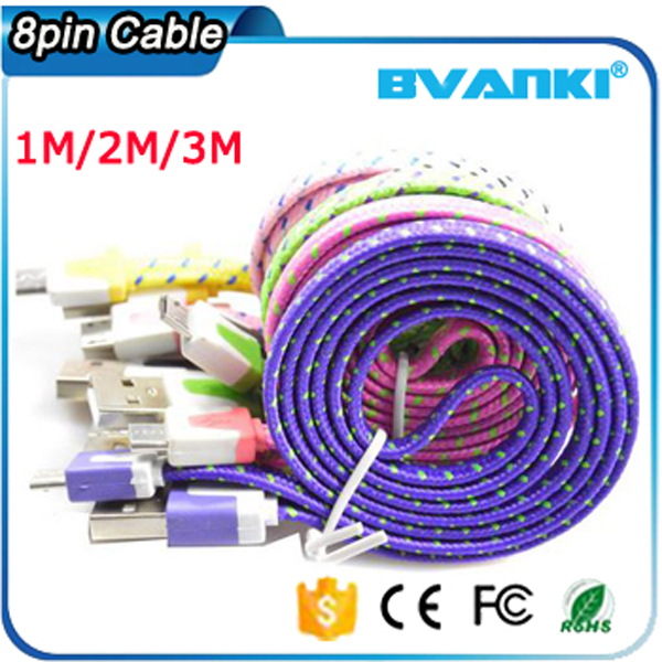 High Quality Fiber Optic Cable,Nylon Braided Micro USB Charger For iPhone Braided Flat 8 Pin USB Data Sync Charging Cable Cord