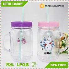 16 oz 550ml double wall plastic drinking mason jars with lid and handle BPA free