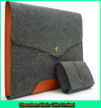 Promotional Style Felt Laptop Sleeve/Notebook Sleeve,Leather&Felt Laptop Bag