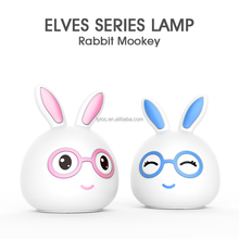 2018 Color Changing Battery Operated Mini Rabbit Silicone Table Lamp Breathing LED