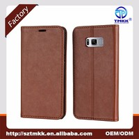 Facotry Supplier Customized Sheep Skin Pattern No Belt Strong Magnet Mobile Phone Leather Flip Cover for Samsung Galaxy S8