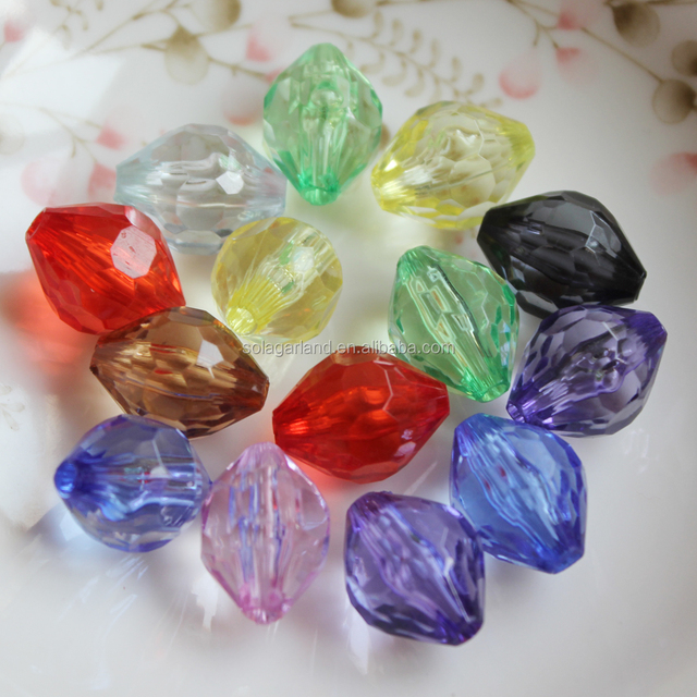 Jewelry Finding Beads Acrylic Faceted Bicone Round Drum Shaped Beads Plastic Transparent Colorful Crystal Charm Beads