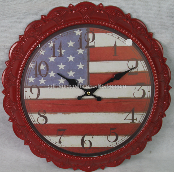 MDF archaize wooden clock American flag digital wall clock