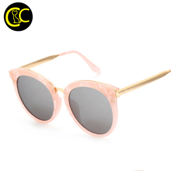 New Cat Eye Round Sunglasses Women Brand Designer Vintage Fashion Mirror Sun Glasses Unique Flat Ladies Sunglasses CC5081