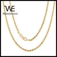 Popular Sterling Silver 14k Gold Plated Italian Laser Cut Rope Chain Necklace For Women Wedding