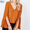 YIHAO Wholesale 2017 Summer Rayon V neck Women Orange Long Sleeve Women Shirts And Top