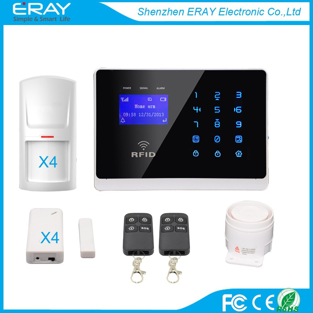 Touch Keypad LCD screen Wireless GSM SMS Intercom/Monitor Security Home Alarm System