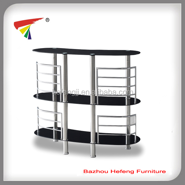 Modern chrome legs and tempered glass bar table