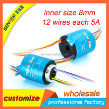 Mini through bore 8mm OD 35mm with 12 circuits 5A electrical slip ring