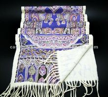 high quality wool printed paisley scarf and shawl in fancy