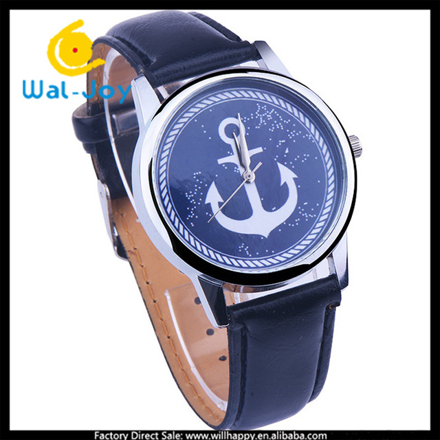 WJ-4838 wholesale China 2016 anchor personality face special design leather wrist watch
