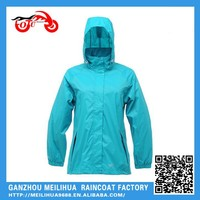 China Supplier Fashion Lady Blue Raincoat With Hooded