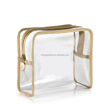 Wholesale Gold Trimmings Clear Plastic Makeup Case