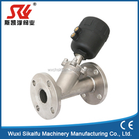 Pneumatic flange SS 304/316 angle seat valve