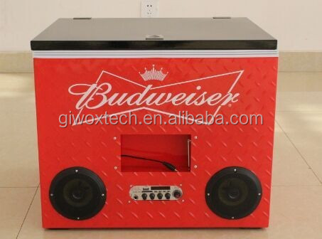 Giwox 77L radio cooler box with speaker , Metal Cooler Box with radio, Metal Cooler box with speaker