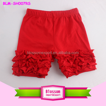 Boutique Wholesale Baby Solid Color Toddler Girls Icing Shorts Soft Personalized Kids Cotton Ruffled Icing Shorties