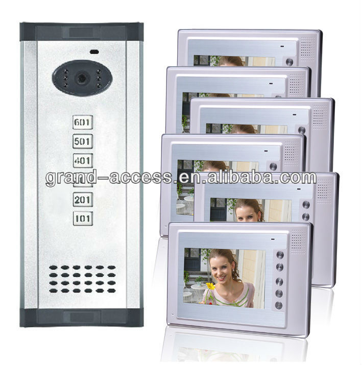 Six Floor User Colorful 7 inch Video door phone,multi apartments video door phone
