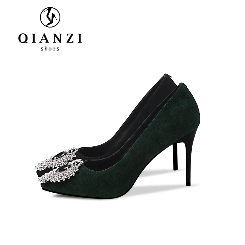 D216 new fashion rhinestone black green womens dress shoes for evening wear