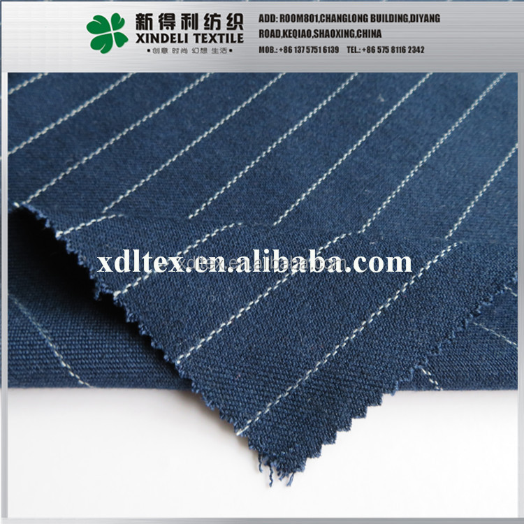 XLT2986 Wholesale dark blue stripe twill poly wool rayon fabric price