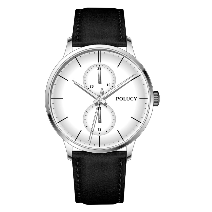 Factory price stainless steel genuine leather strap custom mens two eyes watch manufacturer with date