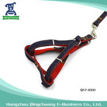 Wearable and thickening denim fabric led dog leash rope for chest straps