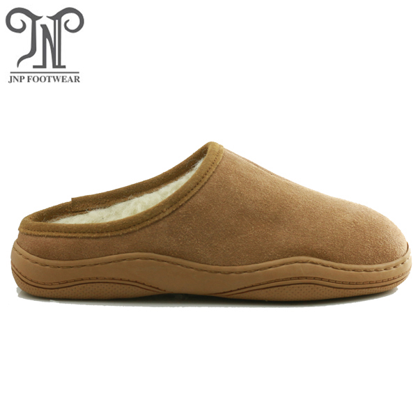 Leather upper sheep wool lined custom logo anchor support slippers for men