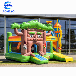 High quality play house kids inflatable bouncy castle combo with slide for kids