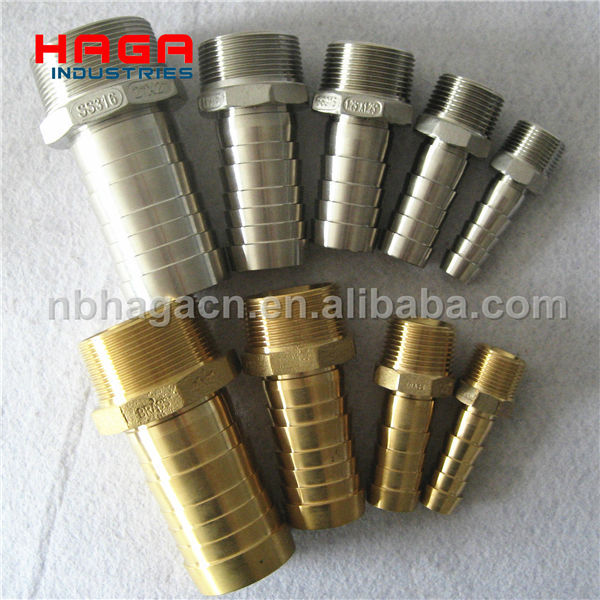 Stainless Steel Brass PP Cast Hex Hose Nipple with Male thread