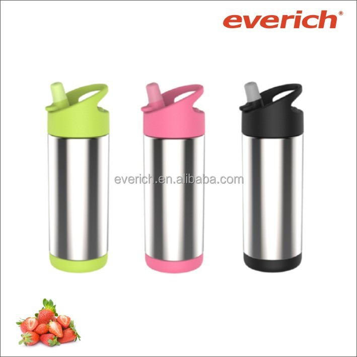 330ml/500ml stainless steel baby bottles with straw lid